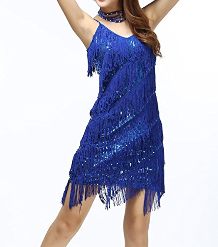 [1920s sequin tassel gatsby salsa ballroom dance flapper dress costume, Royal Blue, XS/S] (Gatsby Dress Cheap)