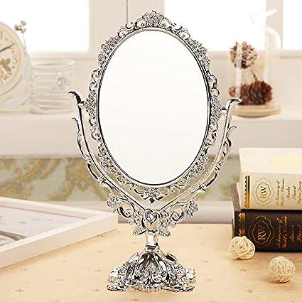 Domeilleur Miroir cosmétique Miroir de Bureau Miroir de Maquillage Miroir Rotatif de Bureau Vintage de Miroir de Maquillage avec l'outil de décor de vignes de Papillon Rose