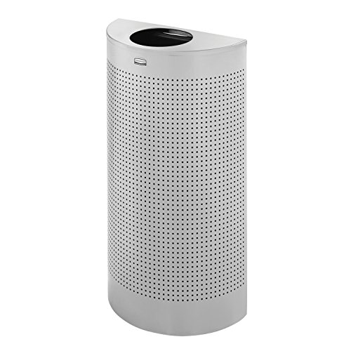 Rubbermaid Commercial Silhouette Trash Can, Half-Round, 12 Gallon, Silver, FGSH12EPLSM