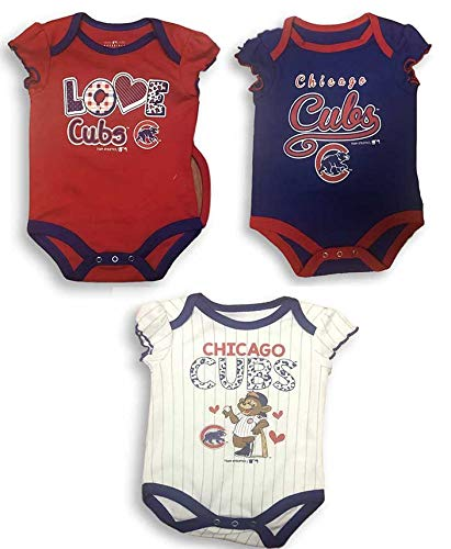 size 40 bf4ca 3adbb Amazon.com: OTS Chicago Cubs Love Cubs Baby Girl's Creeper ...