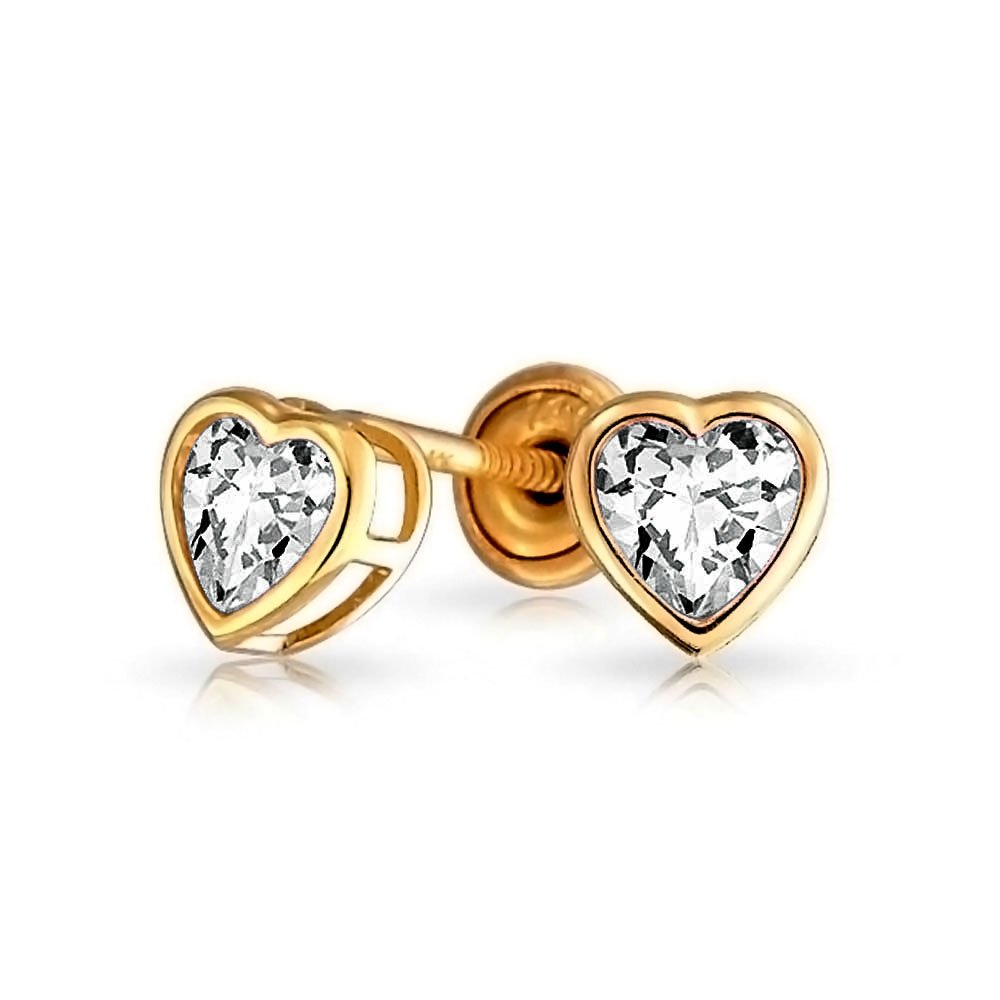 Bling Jewelry 14K CZ Heart Baby Safety Screw back Stud Earrings EH-EJE31469H-CL