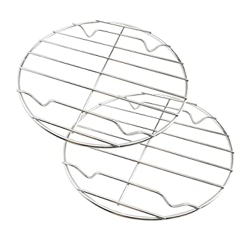 BESTONZON - Rejilla de Acero Inoxidable para cocinar al Vapor con Soporte para freidora de Aire, Olla de presión instantánea de 28 cm: Amazon.es: Hogar