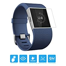 MoKo [2-PACK] Fitbit Surge Screen Protector - [Tempered Glass] Premium HD Clear 9H Hardness Ballistic Glass Screen Protector Film with Oleophobic Coating for Fitbit Surge Fitness Super Watch