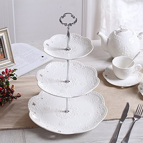 Agyvvt 3-Tier Cake Stand Fruit Plate Cupcake Ceramics Stand White for Cakes Desserts Fruits Candy Buffet Stand for Wedding & Home & Birthday Party Serving Platter (3 Tier Round Crown, Silver) (Silver Basket Cake)
