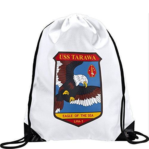 Large Drawstring Bag with US Navy USS Tarawa (LHA-1, Eagle of the Sea) (decom) - Long lasting vibrant image by ExpressItBest