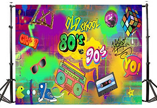 TMOTN 7x5ft Graffiti Photography Backdrop Vinyl Hip Hop Backdrops Colorful Brick Wall Background 80's & 90's Party Decoration D1647 -