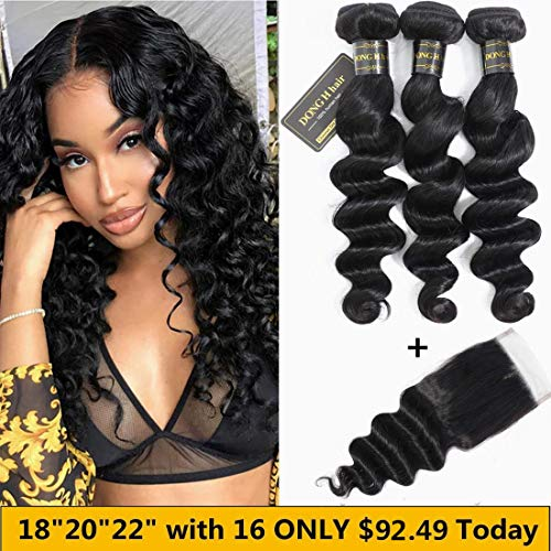 Peruvian Loose Deep Wave Bundles with Closure, (18 20 22 with 16 Closure)Long Loose Deep Curly Hair 9A Peruvian Virgin Hair 3 Bundles with 4x4 Top French Lace Closure with Baby Hair (4 Bundles Of Peruvian Hair With Closure)