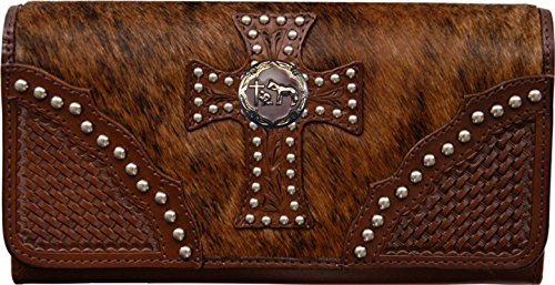 Custom Cowboy Church, Praying Cowboy Natural Hair Christian Clutch Wallet with removable checkbook by Genuine Texas Brand