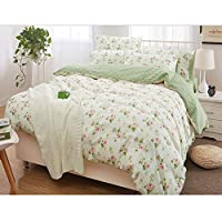FADFAY Elegant and Shabby Pink Rosette Print Gold Rustic Green Grid Farmhouse 100% Cotton Duvet Cover Set Hypoallergenic with Hidden Zipper Closure, Queen Size 3-Pieces