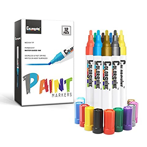 Colorshine Water Based Paint Marker – Medium Point, 12 Colored Pens with Metallic Gold and Silver, Fast Drying, Permanent, Odorless, Writes on Rocks, Metal, Wood, Glass, Tire, Paper, Ceramic, - Navy Blue Chrome Pen
