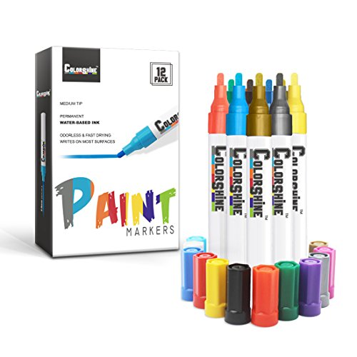 Colorshine Premium Paint Pen Set - 12pcs Water Based Marker, Medium Point, Permanent, Odorless, Safe for Kids, Writes on Rocks, Ceramic, Plastic, Metal, Wood, Glass, Plant, Fabric