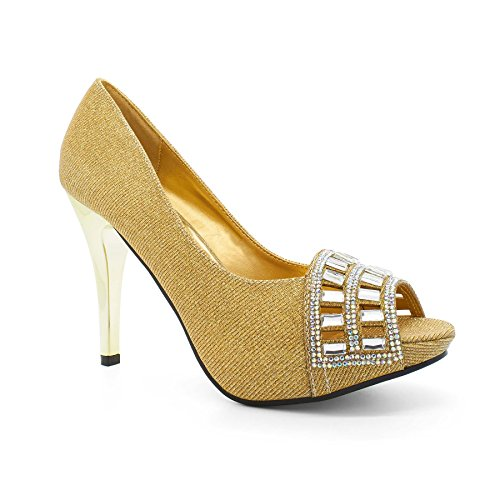 Toe Footwear WoMen Shoes Diamante Gold Peep Court Kalena London 6XwdT6