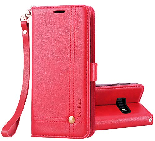 Retro Id Credit Card - Ferilinso Case for Samsung Galaxy S10 Plus,Elegant Retro Leather with ID Credit Card Slot Holder Flip Cover Stand Magnetic Closure Case for Samsung Galaxy S10 Plus-Red