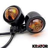 Krator 2pcs Black Heavy Duty Motorcycle Turn Signals Bulb Indicators Blinkers Lights