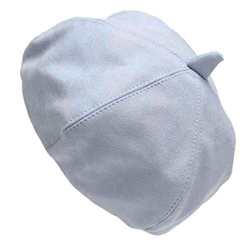 - Pikolai Women New Suede Fabric Fashion Casual Beret Hats (S, Light Blue)