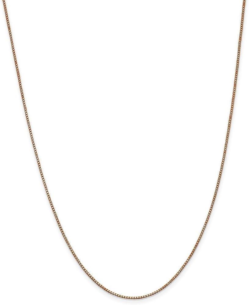 14K Rose Neckalce 1MM 18 INCH Long 14k Rose Gold 1.0mm Box Link Chain
