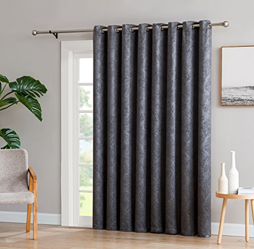 Pattern Door - LinenZone Evelyn - 1 Patio Extra Wide Curtain Panel with 16 Grommets - Embossed Thermal Weaved Blackout - Noise Reduction Fabric - Ideal for Sliding and Patio Doors (Patio 102
