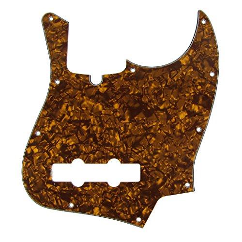 IKN 3Ply JB Jazz/J Bass Pick Guard Scratch Plate with Screws, 10 Hole, Golden/Brown Pearloid (Guitar Picks Jb)