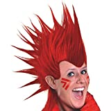 Amscan Party Perfect Team Spirit Crazy Mohawk Wig (1 Piece), Red, 11 x 8""