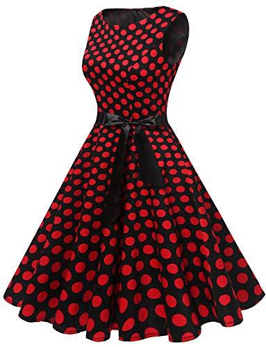 Red Audery Black Maniche Rockabilly Abito Vestito Dot Cocktail 1950 Partito Gardenwed Swing Da Retrò Polka Senza Annata wq6ZSUxA0