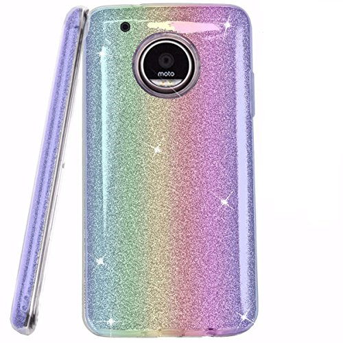 Price comparison product image Moto G5 Plus Case,Moto G5 Plus Glitter Case,DAMONDY 3 In 1 Shiny Bling Ultra Thin TPU Bumper Soft Glitter Paper Slim Fit Hard Back Cover Case for Motorola Moto G5 Plus 2017 ONLY -rainbow