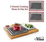 Artestia Double Cooking Stones Sizzling Hot Stone Set,Stainless Steel Tray,Bamboo Platter,Ceramic Side Dishes,Deluxe BBQ/Hibachi / Steak Grill (Deluxe Set with Two Stones on Bamboo Platter)