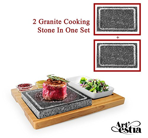 Artestia Double Cooking Stones Sizzling Hot Stone Set,Stainless Steel Tray,Bamboo Platter,Ceramic Side Dishes,Deluxe BBQ/Hibachi/Steak Grill (Deluxe Set with Two Stones on Bamboo Platter)