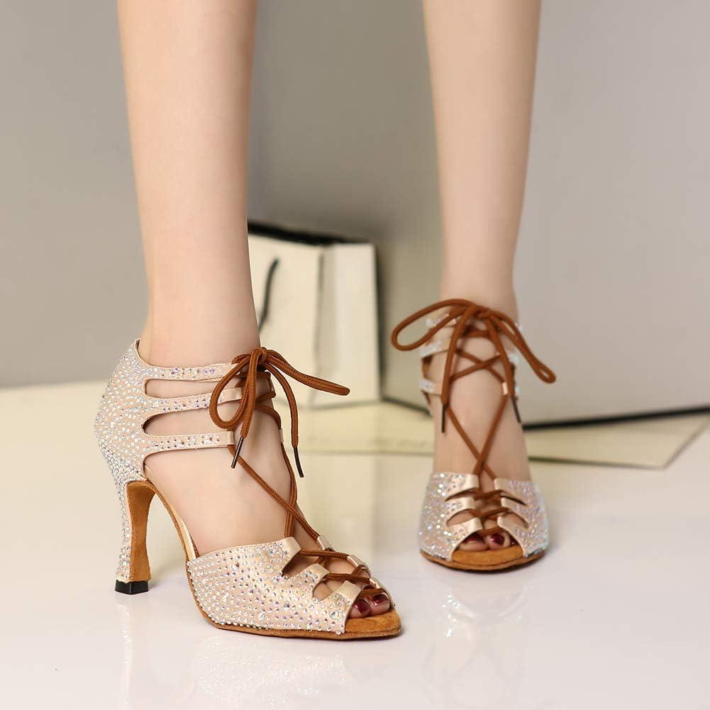 HROYL Femmes /& Filles Satin Chaussures de Danse Chaussure de Danse Femme de Salon Chaussures Danse Latine Strass,YCL425