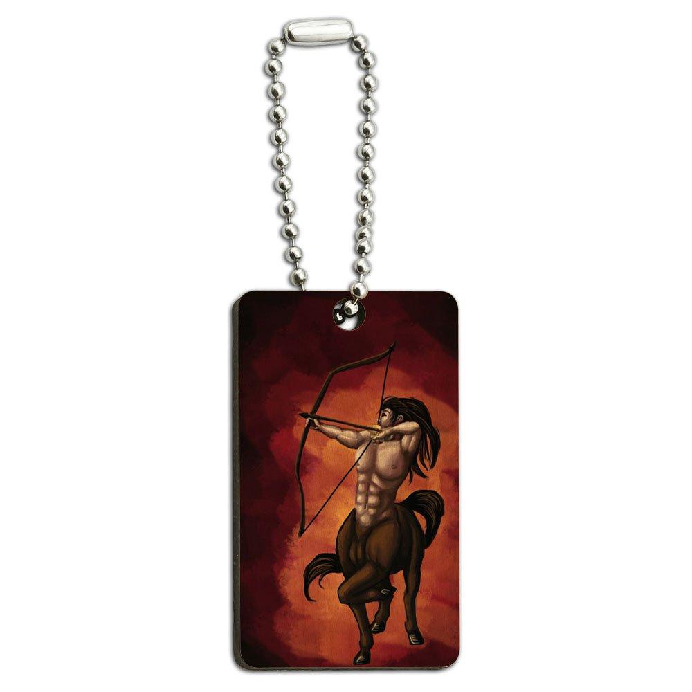 Centaur - Sagittarius Mythology Mythical Creature Archer Bow Arrow Wood Wooden Rectangle Key Chain