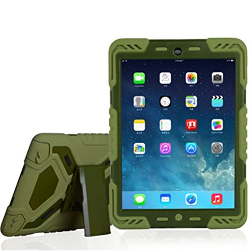 - Ipad pro 9.7 Case, bpowe Pepkoo Series Heavy Duty Cover Case Silicone Plastic Dual Layer Shock Proof Drop Proof Dust Proof Kids Proof With Kickstand For Ipad pro 9.7 inch (olive/olive)