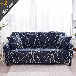 "iisutas Stretch Couch Covers Sofa Slipcovers Fitted Cover Seat Furniture Protector with Two Pillow Case (90""-110"" Big Sofa, Tree Branch)"