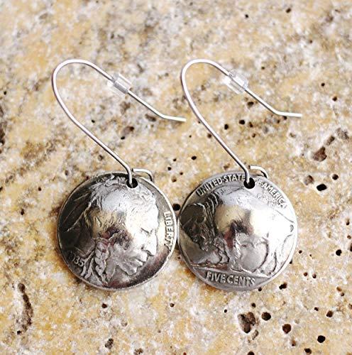 Buffalo Nickels Domed Coin Earrings Drop Dangle Handmade Stainless Steel ()