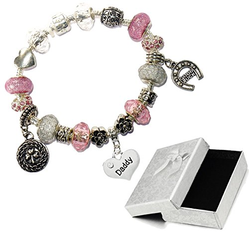 Charm Buddy Daddy Dad Pink Silver Crystal Good Luck Pandora Style Bracelet With Charms Gift Box by Charm Buddy