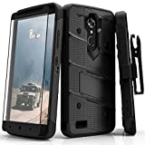 zte blade 3 case - Zizo Bolt Series Compatible with ZTE Max XL Case Military Grade Drop Tested with Screen Protector Kickstand Holster Clip Blade X Max Black Black