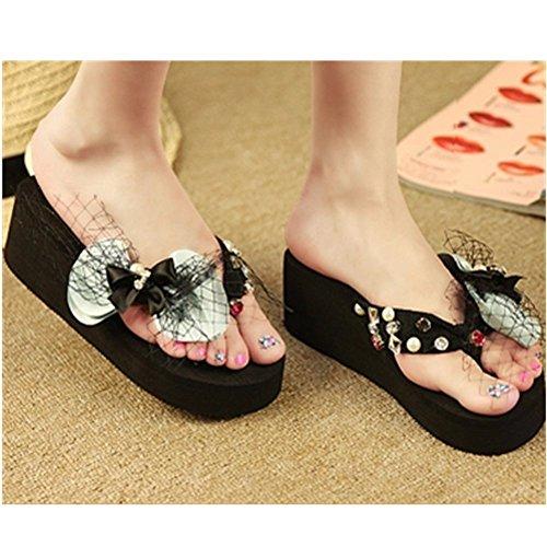 Kaka (tm) Damesmode Strass Glitter Bezaaid Kristal String Sandalen Slippers Sandalen Met Dikke Bodem £ ¨9 £ © Sky Blue Black-5