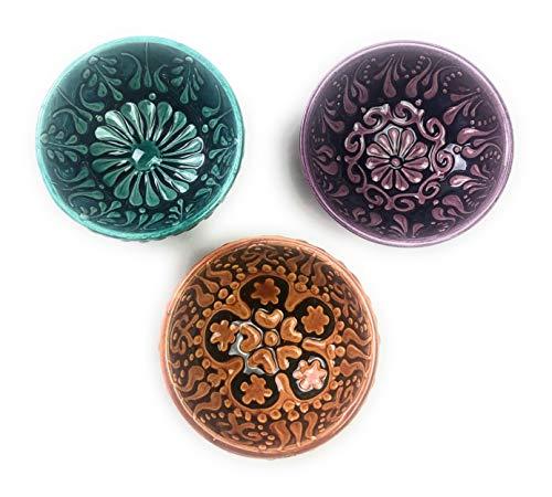 - Ceramic Bowls, Assorted Design Multicolor Set Varieties, Handmade Hand Painted Turkish Bowls, 3