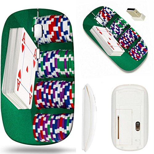 (MSD Wireless Mouse White Base Travel 2.4G Wireless Mice with USB Receiver, Noiseless and Silent Click with 1000 DPI for notebook, pc, laptop, computer, mac book design 19685861 Poker chips and cards c)