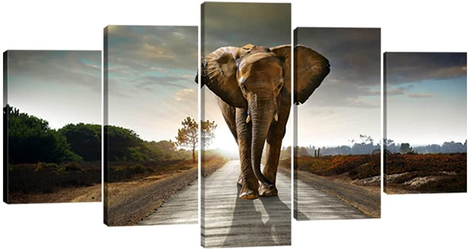Wieco Art Elephant Free shipping anywhere in the nation Extra Factory outlet Large 5 and Stretched Modern Panels Fra