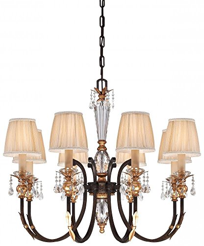 French Bronze with Gold Leaf Highlights 8 Light 1 Tier Candle Style Crystal Chandelier from the Bella Cristallo Collection Model-N6648-258B