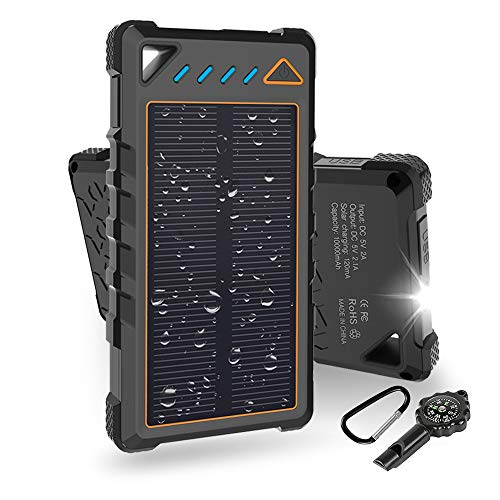 Solar Energy Cell - Hobest Solar Charger 10000mAh,Water-Resistant Outdoor Solar Power Bank with LED Flashlight,Dual USB Portable Charger Solar for Smartphones,GoPro Camera,GPS and Emergency Travel (Orange)