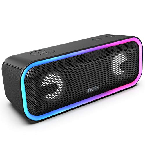 DOSS SoundBox Pro+ Wireless Bluetooth Speaker with 24W Impressive Sound, Booming Bass, Wireless Stereo Paring, Mixed Colors Lights, IPX5 Waterproof, 15 Hrs Battery Life, 66 ft Bluetooth Range-Black