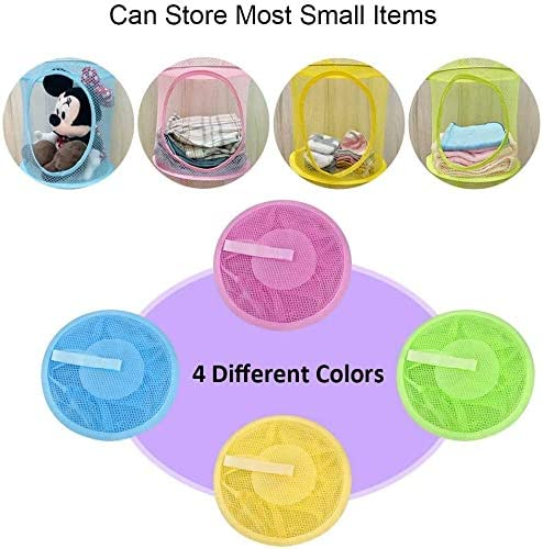 GERW 4 Pcs Hanging Mesh Space Saver Bags Organize 3 Compartments 4 Colors Foldable Mesh Hanging Bags Hanging Mesh Baskets for Storing Kids Toys