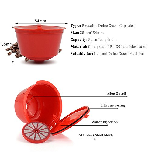 BRBHOM 6 Refillable Dolce Gusto Capsules Reusable Replacement Coffee Pod Coffee Capsule Filter Color Red