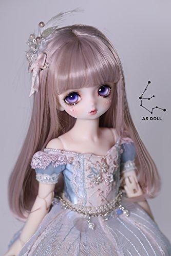 ASDOLL bjdドール用ウィッグ 6分女BJD人形ウィッグ ドールウィッグ 球体関節人形ウィッグ ロングストレート16cm(ローズブラウン)