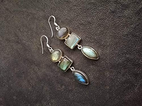 Handmadejewelry- Beautiful Handmade Labradorite Pearl Earrings | 925 Sterling Silver | Gemstone Dangler for Women | Vintage Design | Marquise Oval Shape | Available in All US Sizes | Multistone -