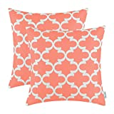 Pack of 2 CaliTime Throw Pillow Covers 18 X 18 Inches, Quatrefoil Accent Geometric, Coral Pink