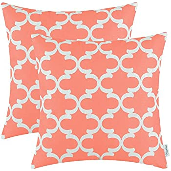 pack of 2 calitime throw pillow covers cases for couch sofa home decor modern quatrefoil