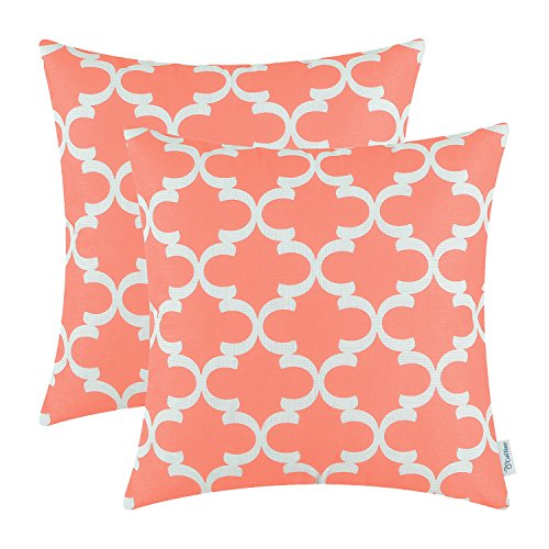 CaliTime Pack of 2 Soft Canvas Throw Pillow Covers Cases for Couch Sofa Home Decor Modern Quatrefoil Accent Geometric 18 X 18 Inches Coral Pink (Coral Home Accents)
