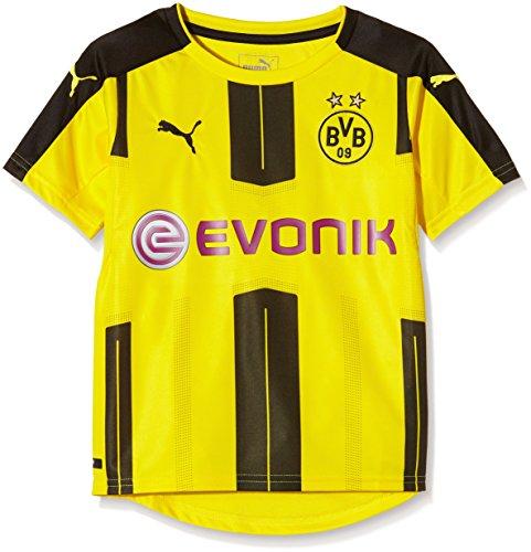 PUMA Kinder Trikot BVB Home Replica Shirt with Sponsor Logo, Gelb (Cyber Yellow/Black), 140, 749828 01