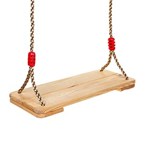 Outdoor Wooden Tree Swing for Adults Kids, Classic Wooden 6.8 to 7.5 ft Nylon Rope Swing for Playground Home, 220 lbs Capacity Pine Wood for Hardwood Trees Oak Branches